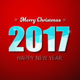 Template square banner background Happy New Year 2017. Template square red banner with snowflakes and the text Merry Christmas and a Happy New Year. Design royalty free illustration
