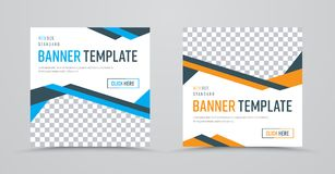 Template of square banners with colored abstract lines and a pla Royalty Free Stock Image