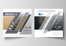 Template for square design brochure, magazine, flyer. Leaflet cover, flat layout, easy editable blank. Golden technology Royalty Free Stock Photo