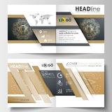 Template for square design brochure, magazine, flyer. Leaflet cover, flat layout, easy editable blank. Golden technology Stock Photography