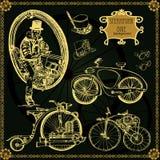 Set of vintage steam bike. Steampunk style. vector illustration