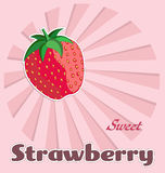Template of strawberry label. Template of sweet strawberry label with pink background Royalty Free Stock Images