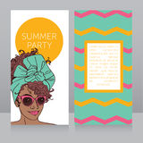 Template for summer night party with beautiful african american girl Royalty Free Stock Photography