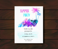 Template for summer party poster. Stock Photos
