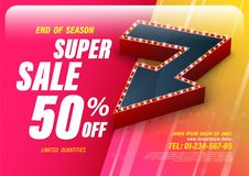 Template super sale with big retro arrow Royalty Free Stock Image