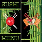 Template for sushi menu with bamboo on black background Stock Image
