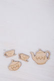 Template with tea cup and teapot Royalty Free Stock Images