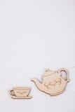 Template with tea cup and teapot Stock Photos