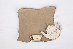 Template with tea cup and teapot Stock Photography