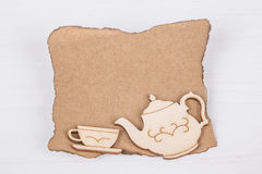 Template with tea cup and teapot Royalty Free Stock Image