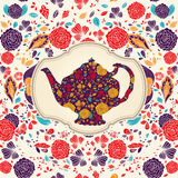 Template with teapot Royalty Free Stock Photos