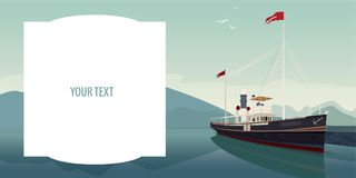 Template with text field and pleasure boat. Template with big text field. Picturesque area with old pleasure boat in style of retro steamer, at pier, on clear Royalty Free Stock Images