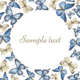 Template for the text. Water color butterflies. Royalty Free Stock Photography