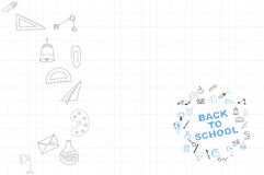 Template on a theme back to school with a sheet in a box. A set of drawing  elements for education with endolar accessories. Stock Image