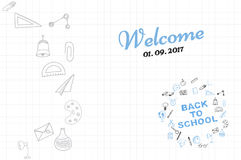 Template on a theme back to school with a sheet in a box. A set of drawing  elements for education with endolar accessories. Royalty Free Stock Photography
