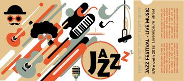 Template for the ticket of the jazz festival with musical instruments. Illustration with saxophone and piano keys and guitar. Colo. Rful Musicians of the Jazz stock illustration