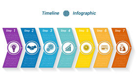 Template Timeline Infographic from colour arrows 7 position Stock Photography