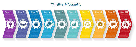 Template Timeline Infographic from colour arrows 10 position. Template Timeline Infographic from colour arrows numbered for 10 position can be used for workflow Royalty Free Stock Photos