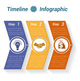 Template Timeline Infographic from colour arrows 3 position. Template Timeline Infographic from colour arrows numbered for 3 position can be used for workflow Stock Images