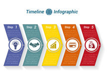 Template Timeline Infographic from colour arrows 5 position. Template Timeline Infographic from colour arrows numbered for 5 position can be used for workflow Stock Photography