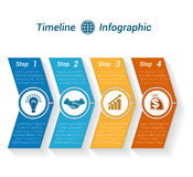 Template Timeline Infographic from colour arrows 4 position. Template Timeline Infographic from colour arrows numbered for 4 position can be used for workflow Stock Photo