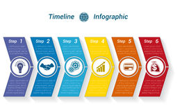 Template Timeline Infographic from colour arrows 6 position. Template Timeline Infographic from colour arrows numbered for 6 position can be used for workflow Royalty Free Stock Images