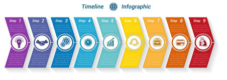 Template Timeline Infographic from colour arrows 9 position. Template Timeline Infographic from colour arrows numbered for 9 position can be used for workflow Stock Photo