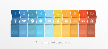 Template Timeline Infographic design for ten position. Template Conceptual Business Timeline Infographic design for ten position can be used for workflow, banner Royalty Free Stock Photo