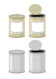 Template Tin with design. Open a tin can. Tin on a white backgro Stock Images