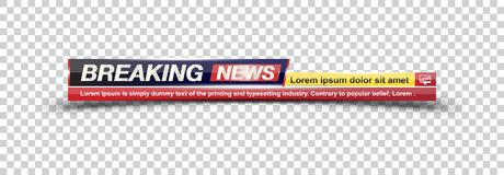 Template title Breaking News on transparent backdrop for screen TV channel. Flat illustration EPS10.  stock illustration