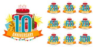 Template from 10 to 100 Years Anniversary Congratulations, Greeting Card Collection Set with Cake, Gift Box, Fireworks. And Ribbon Invitation Vector Stock Photos