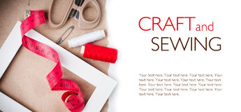 Template with tools for sewing and handmade Royalty Free Stock Photos