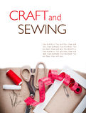 Template with tools for sewing and handmade Royalty Free Stock Photography