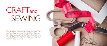 Template with tools for sewing and handmade Royalty Free Stock Image