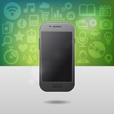 Template with Touchscreen Mobile Phone Device and Stock Images