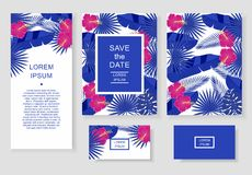 Template with tropical flowers and leaves. Pattern flyer, invitation, flyer, business card. Stock Image