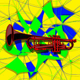 Template trumpet in the avant-garde background Royalty Free Stock Photography
