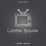 Template with tv for hand drawn card, broshure or Royalty Free Stock Photo