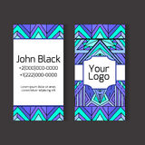 Template two-sided business card with ethno pattern Stock Photos