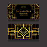 Template two-sided business card with golden luxury pattern Stock Photo
