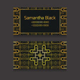 Template two-sided business card with golden luxury pattern Stock Image