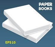 Mock-ups of paper books-05. Template of two white books in hard cover. They lay on the table. one on another. Closed. A layout for your business, creative royalty free illustration