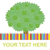 Template for typography banner. Green apple tree, colorful fence, Your text here on white Royalty Free Stock Photo