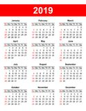 USA calendar grid 2019 in vector Stock Photography