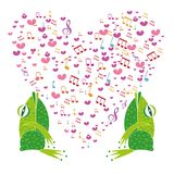 Two frogs singing in the background heart Stock Photo
