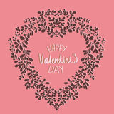 Template Valentine`s Day card. With wreath in the shape of heart. Can be used as a greeting card on a Valentine`s day , invitation,background or any other design Stock Images