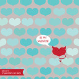Template for valentine's day party with one devil heart Stock Images