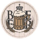 Beer label on wooden cask with full beer mug. Template vector beer label with overflowing mug of frothy beer, crown and wheat ears on wooden cask in retro style Royalty Free Stock Image