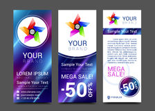 Template. Vector brochure design templates collection. Applications and Infographic Stock Photo
