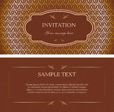 Template vector brown invitation card. With beautiful vintage background vector illustration